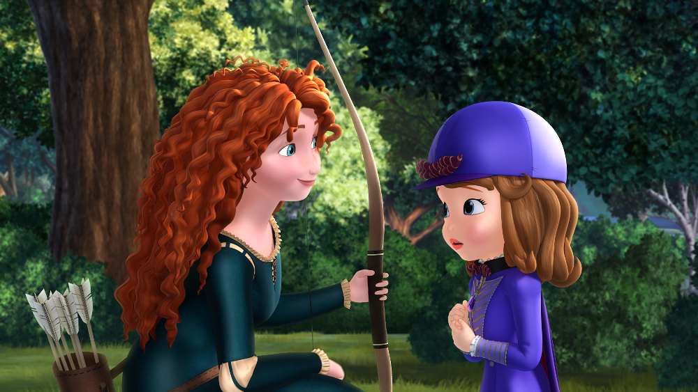 """SOFIA THE FIRST - """"The Secret Library"""" - Sofia unlocks a secret world and becomes Storykeeper of magical bookish ÒSofia The First: The Secret Library,Ó the first episode of a four-part story arc, debuting Monday, October 12 on Disney Channel and Disney Junior. (Disney Junior) PRINCESS MERIDA, PRINCESS SOFIA"""