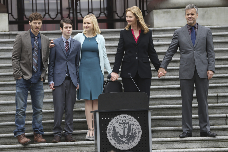 "THE FAMILY - This thriller follows the return of a politician's young son who was presumed dead after disappearing over a decade earlier. As the mysterious young man is welcomed back into his family, suspicions emerge - is he really who he says he is? ""The Family"" stars Joan Allen as Claire, Alison Pill as Willa, Margot Bingham as Sergeant Nina Meyer, Zach Gilford as Danny, Liam James as Adam, Floriana Lima as Bridey, Madeleine Arthur as Young Willa, Rarmian Newton as Young Danny, Rupert Graves as John and Andrew McCarthy as Hank. ""The Family"" was written by Jenna Bans. Executive producers are Jenna Bans; and Mandeville Television's Todd Lieberman, David Hoberman and Laurie Zaks. ""The Family"" is produced by ABC Studios.  (ABC/Jack Rowand) ZACH GILFORD, LIAM JAMES, ALISON PILL, JOAN ALLEN, RUPERT GRAVES"