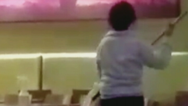 Walt Disney World Worker Caught Using Dirty Mop to Clean Food Court Tables (Video)