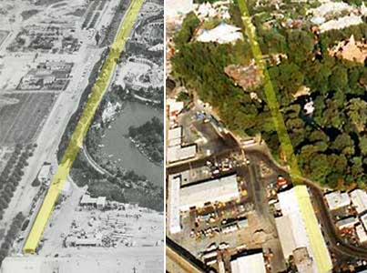 Details of two early aerial views show the location of the roundhouse, the pre-1965 alignment of the railroad tracks (left), and the same route overlaid on the park in later years (right).