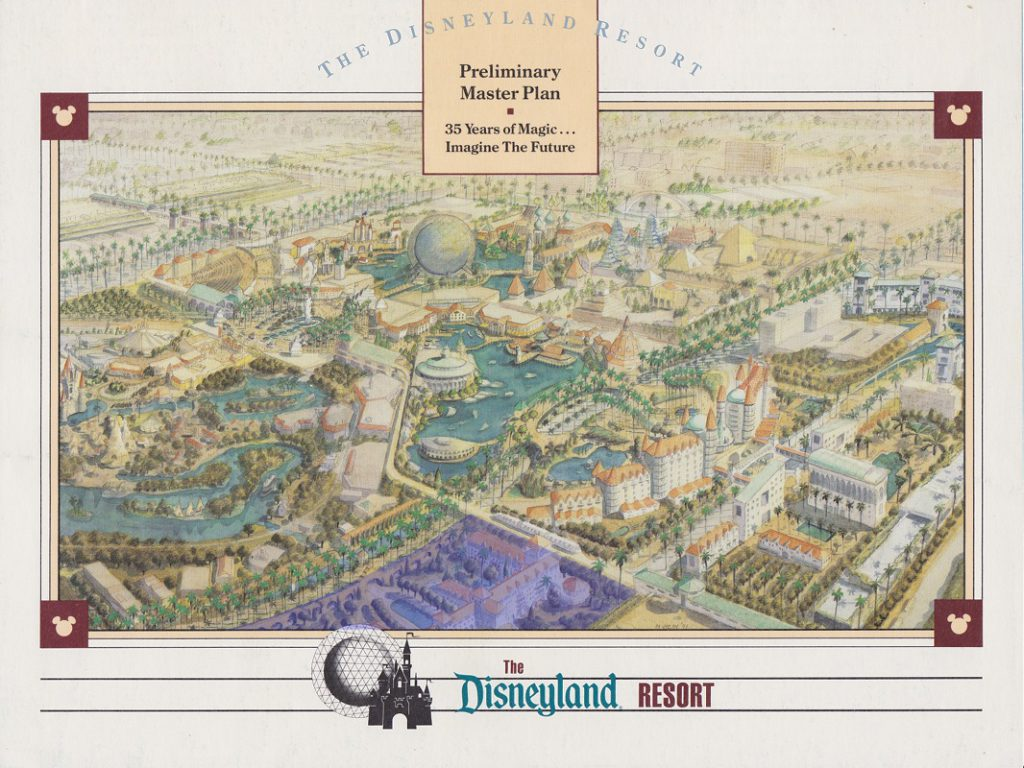 The location of what will be Disney's new luxury hotel is highlighted here on the cover of the 1991 brochure for the Disneyland Resort.