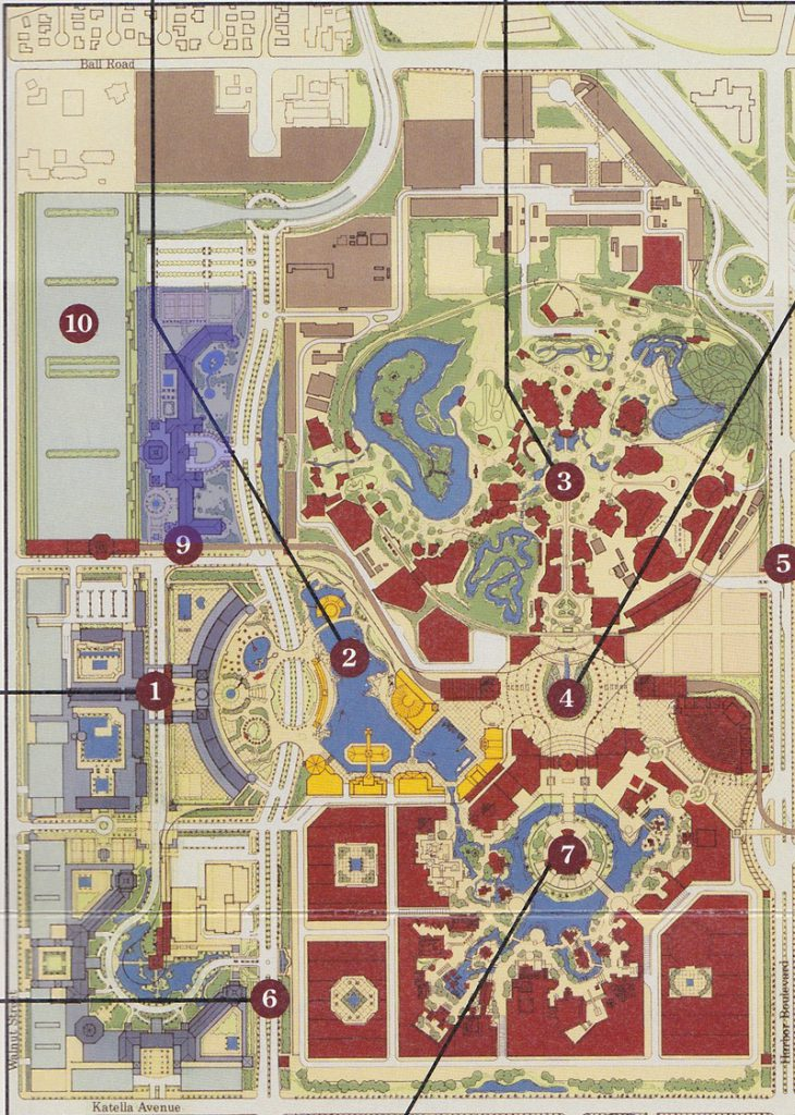 A map of the proposed Resort shows four hotels filling the western edge of the property. The northernmost hotel is highlighted in blue.