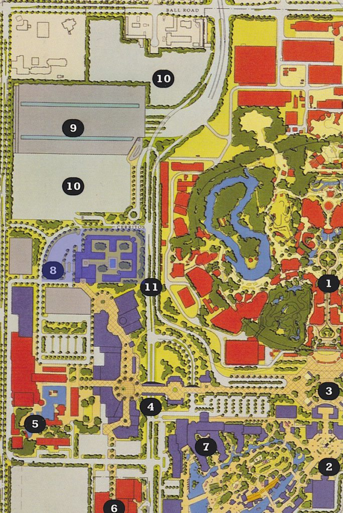 The first California Adventure map shows the Magic Kingdom Hotel location, identified by the number eight, and highlighted in blue.
