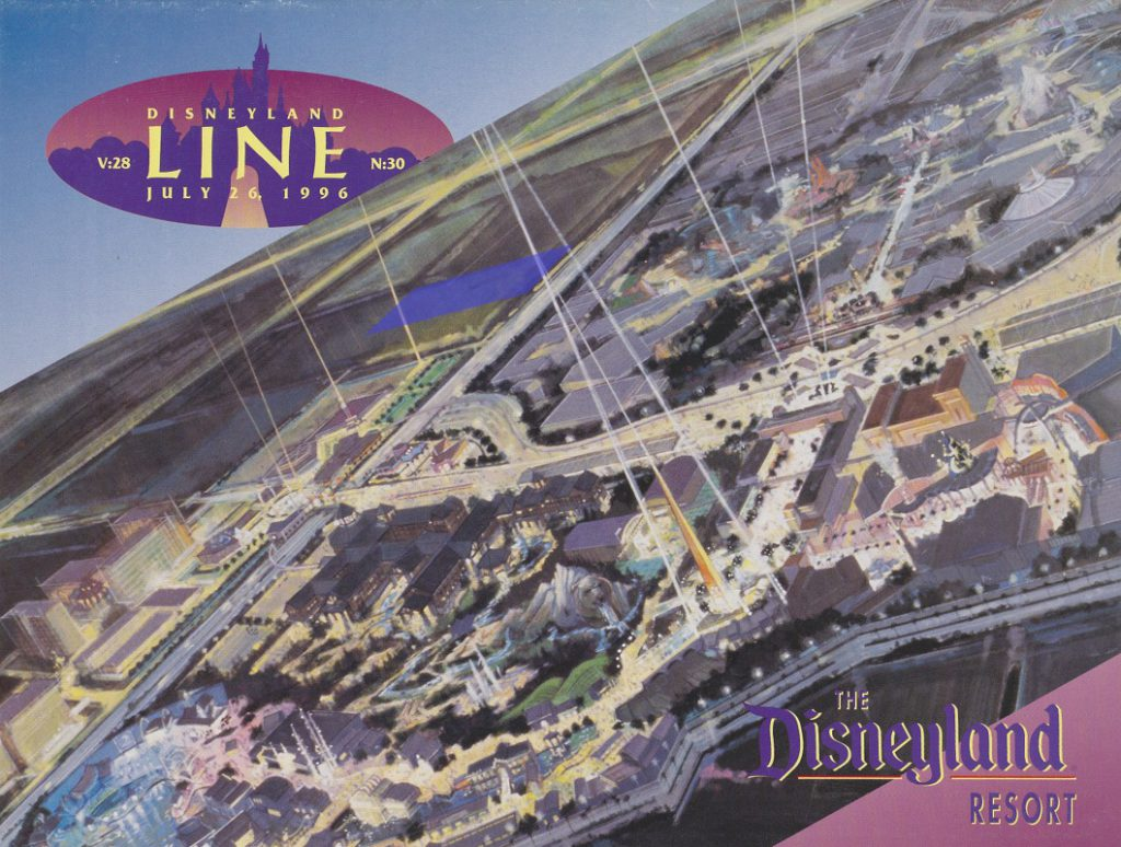 The cover of the July 26, 1996 Disneyland Line showed a highly stylized depiction of the Resort. The location for the luxury hotel that has just been announced is highlighted in blue.