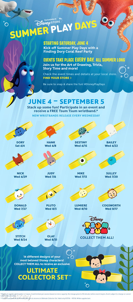 Summer Play Days Return to Disney Store with Tsum Tsum Wristbands