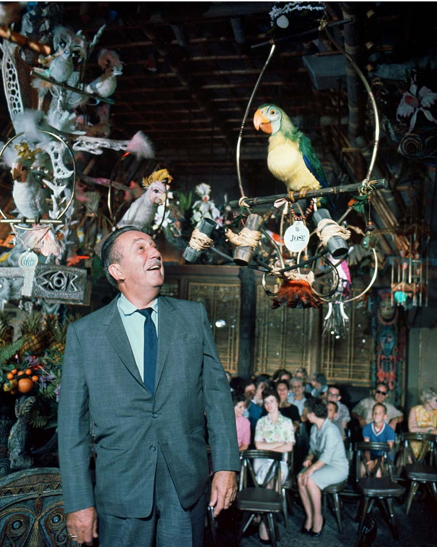 Walt Disney inside the original Enchanted Tiki Room at Disneyland.