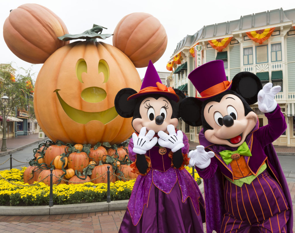 Mickey and Minnie welcome guests to Halloweentime at the Disneyland Resort
