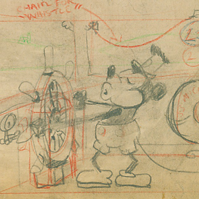 """Historic """"Steamboat Willie"""" Draft Up For Auction"""