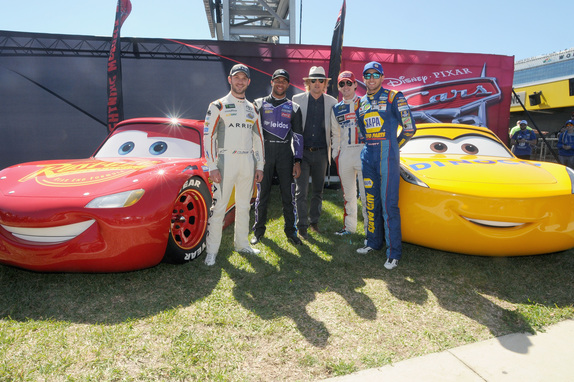 6 Grand Marshal Owen Wilson voice of Lightning McQueen in u201cCars 3u201d poses with NASCAR racers Daniel Suarez Bubba Wallace Ryan Blaney and Chase Elliott ... & Cars 3 Extended Look Debuts at Daytona 500 - LaughingPlace.com