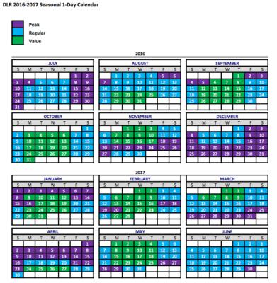 Disneyland 1-day calendar