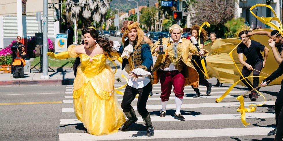 """James Corden's """"Crosswalk the Musical"""" Featuring """"Beauty and the Beast"""" Cast Goes Viral"""