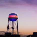 Walt Disney Studios Water Tower Lit Up to Support LA's Olympic Effot
