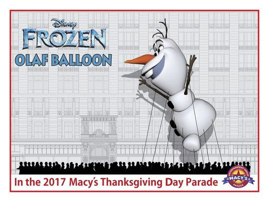 Olaf Balloon to Appear in Macy's Thanksgiving Day Parade