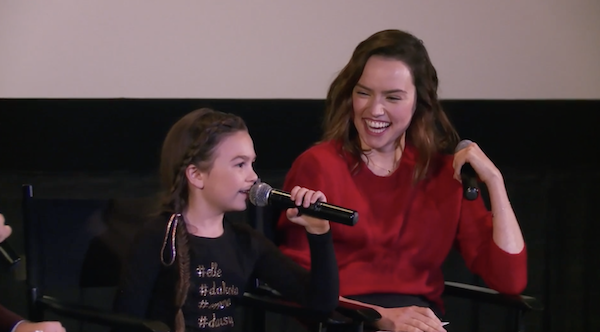 "Watch Daisy Ridley Surprise the Young Star of ""The Florida Project"" at a Q&A"