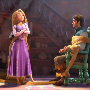 Flynn Rider convinces her to leave