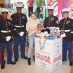 Hilary Duff, U.S. Marines Kick Off Toys for Tots Holiday Campaign at the Disney Store