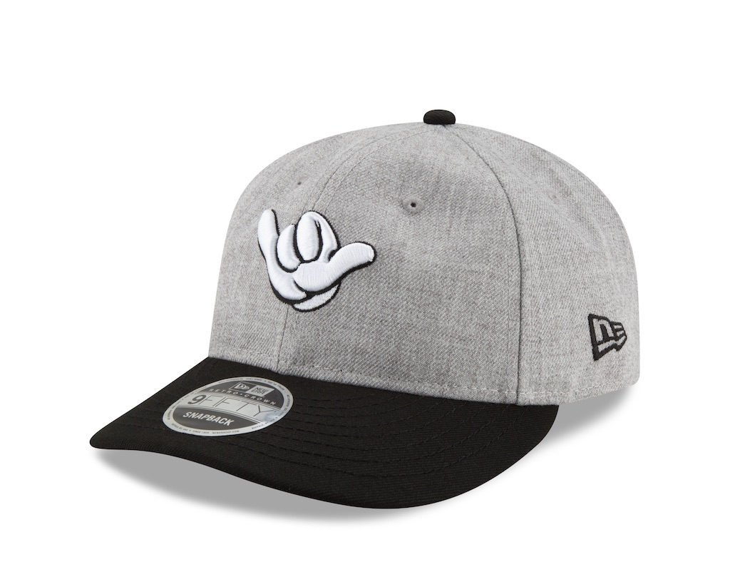 c0c463f0c2895 The Hang Loose Retro Crown hat features a heathered grey fabrication with  embroidered Mickey Mouse hand at the front and an adjustable snapback  closure at ...