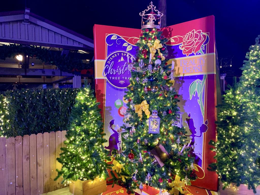 disney springs christmas tree trail beauty and the beast tree