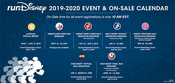 runDisney 2019-2020 calendar