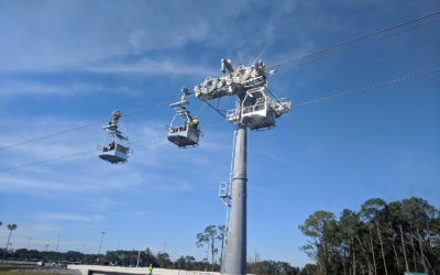Work Progresses on Disney Skyliner System Near Disney's Hollywood Studios Entrance Plaza