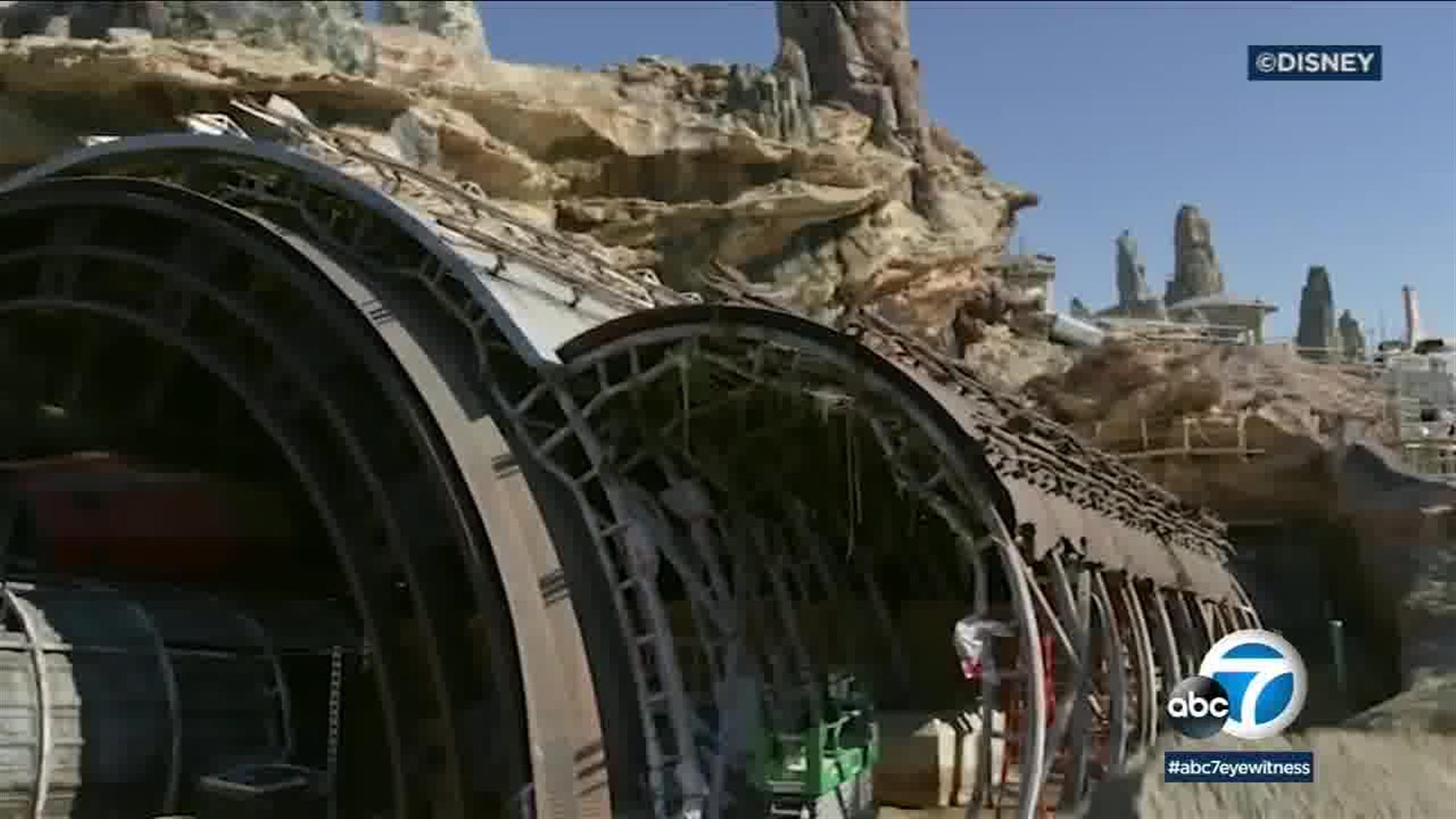 What looks like a giant, rotting engine from a Star Destroyer or other large capital ship disguises an access point to an abandoned Rebel base on Batuu, and what will eventually serve as the entrance to the Star Wars: Rise of the Resistance attraction.