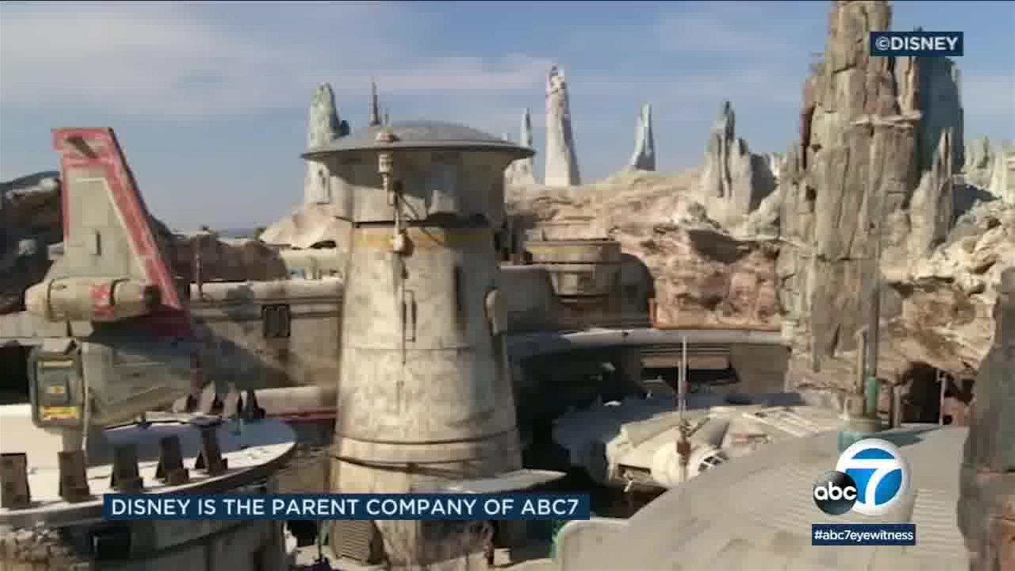 The legendary freighter the Millennium Falcon is docked at the central focal point of Batuu, just outside the entrance to the Smuggler's run attraction.