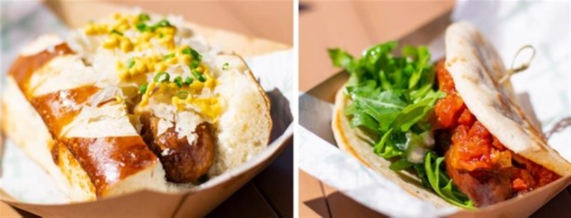Bratwurst and Lamb Sausages from B.B. Wolf's Sausage Co. at Disney Springs