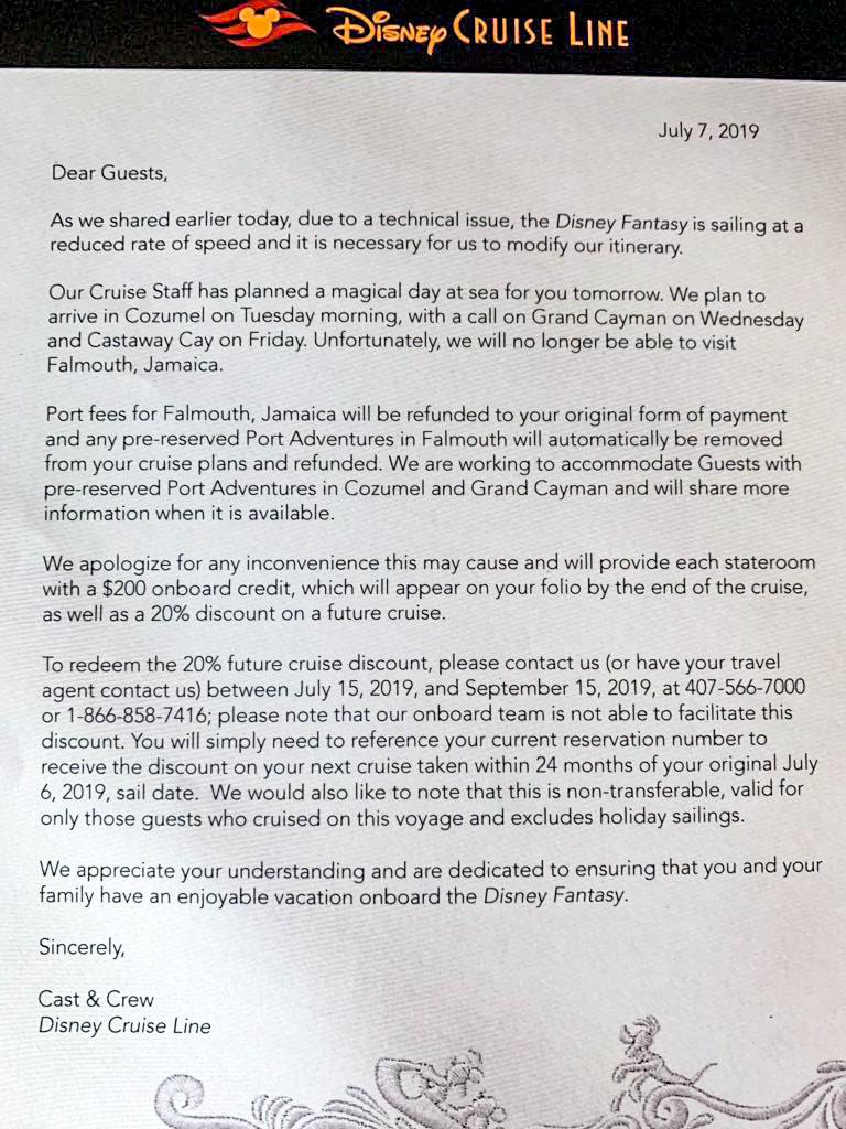 Disney Cruise Line letter to guests. Credit: DisneyCruiseLineBlog
