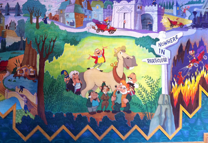 (The original Toad Hall attraction mural painted by Claude Coats)