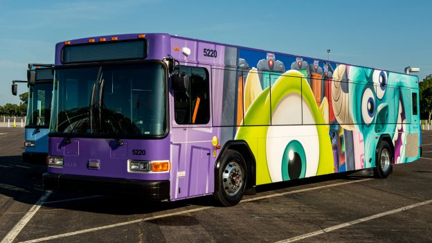 """Walt Disney World bus featuring Mike and Sully from """"Monsters, Inc.,"""""""