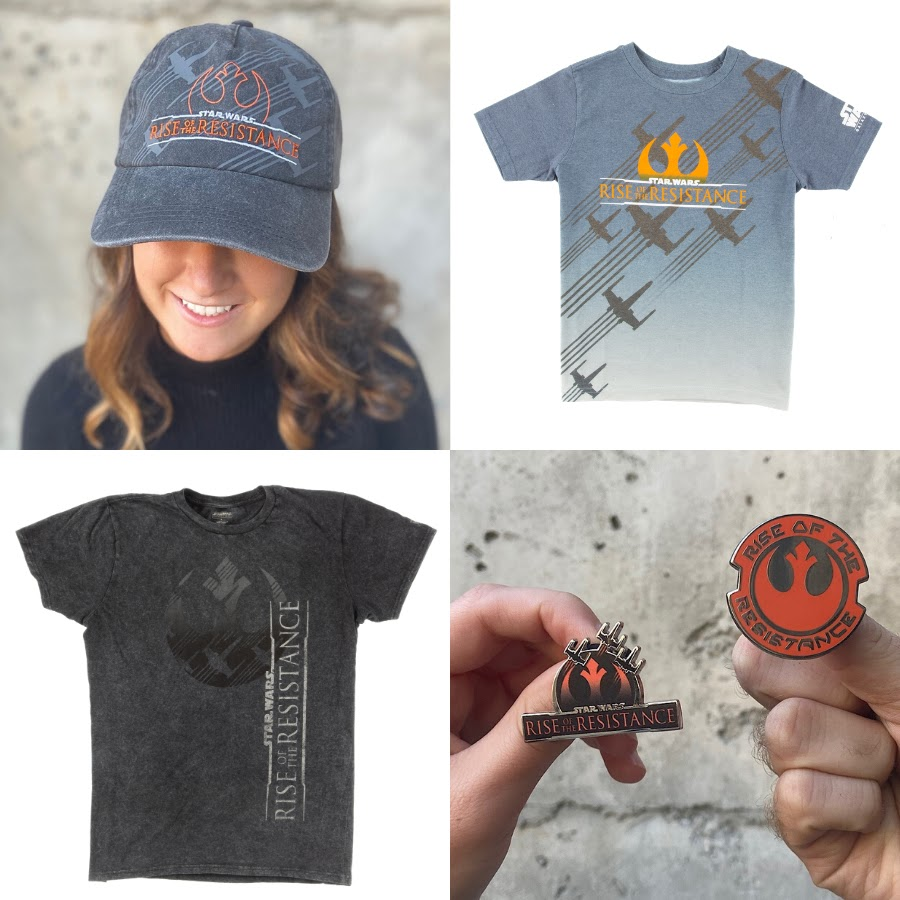 Star Wars: Rise of the Resistance merchandise - hat, t-shirts and pins