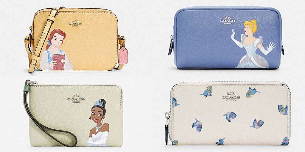 New Disney X Coach Designs Featuring Belle Cinderella And Tiana Available Now At Outlet